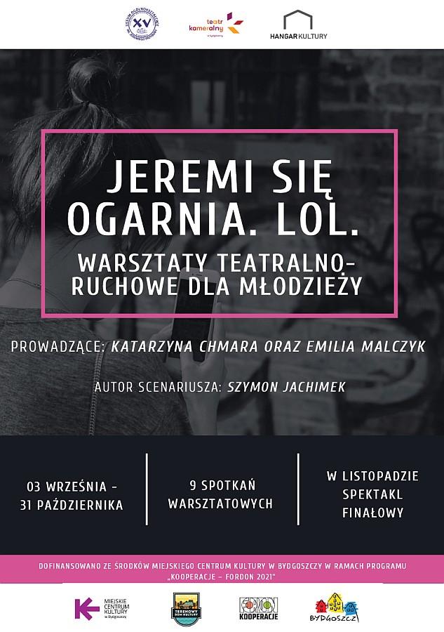 Warsztaty teatralno-ruchowe dla młodzieży - plakat